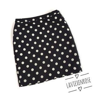 LOFT Black and White Polka Dot Skirt